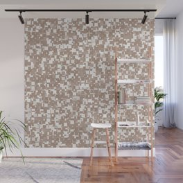 Warm Taupe Pixels Wall Mural