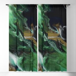 Trimeresurus Stejnegeri - green fluid abstract Resin Art Blackout Curtain