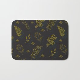 Thin delicate lines silhouettes of different plants. Bath Mat