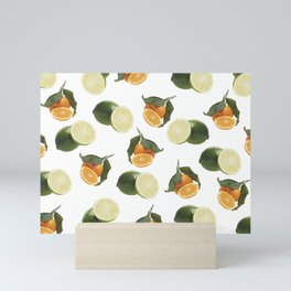 Lime and Clementine Fruits Pattern on White Background Mini Art Print