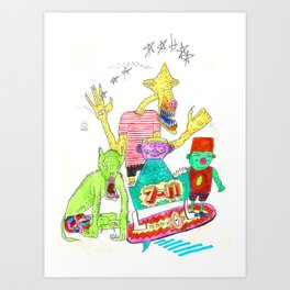 7-11 surf Art Print