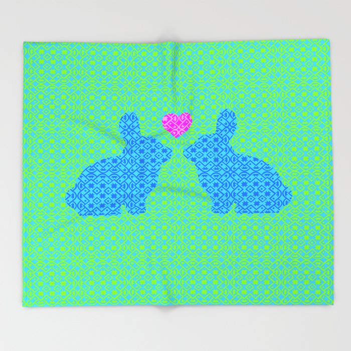 Blue and Green Digital Pattern with Pair of Bunnies in Love with Pink Heart Throw Blanket
