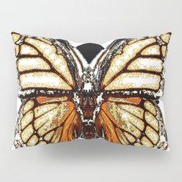 BLACK HARLEQUIN PATTERNED BROWN-WHITE  BUTTERFLY Pillow Sham