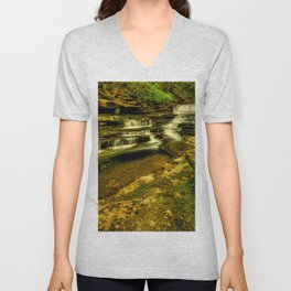 Picture USA Meadow Creek Cascades Wayne County Kentucky Nature Stream Waterfalls brook Creeks Streams Unisex V-Neck
