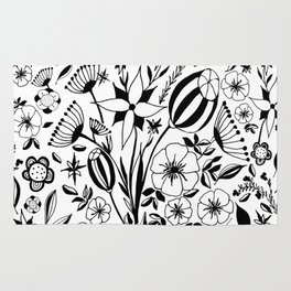 Black and white floral bouquet, hand-drawn Rug