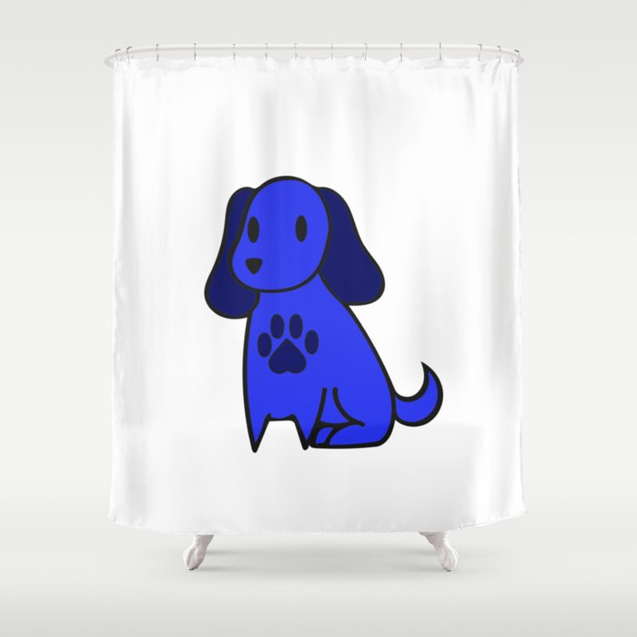 The Blue Dog With Paw Print Shower Curtain By Inspiredpom
