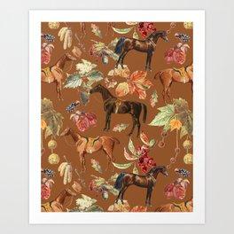 AUTUMN HORSES & Sugar Almond background  Art Print