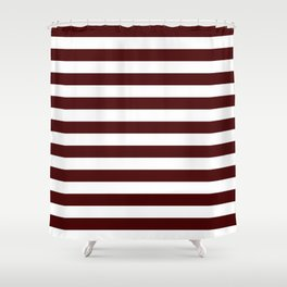 Narrow Horizontal Stripes - White and Bulgarian Rose Red Shower Curtain