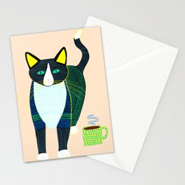Graham the Cat with His Morning Coffee Stationery Cards