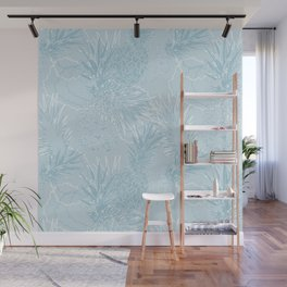 Light blue pineapples with white Wall Mural