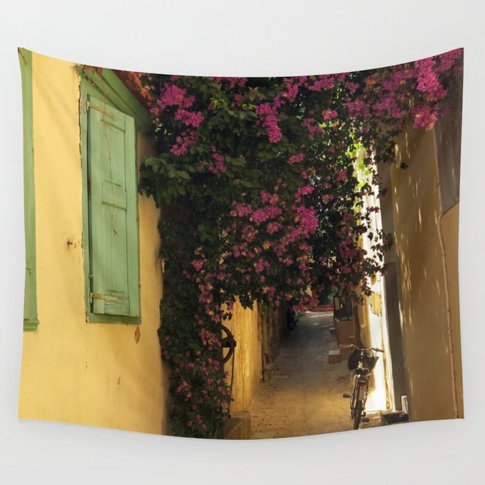 Small Narrow Art Room Living Room Design: Narrow Cute Street In Greece Wall Tapestry By Habish