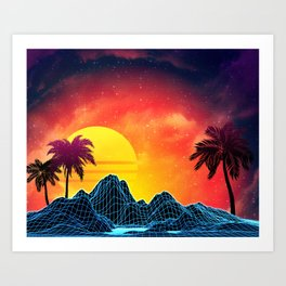 Sunset Vaporwave landscape with rocks and palms Art Print