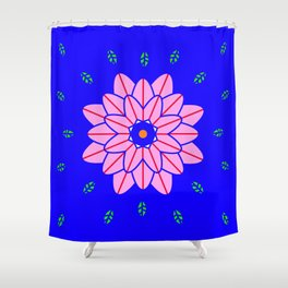 Flower power 1 Klein Blue Shower Curtain