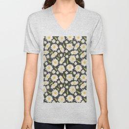 Daisies with dark grey background Unisex V-Neck