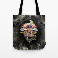 animal skull Tote Bags featuring ANIMAL SKULL by sametsevincer