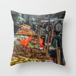 Busy Chinatown Throw Pillow