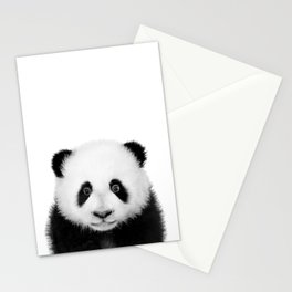 Baby Panda Black And White, Baby Animals Art Print by Synplus Stationery Cards
