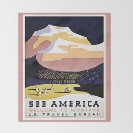See America Montana travel ad Throw Blanket