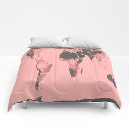 World Map: Gall Peters Pink Comforters