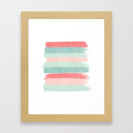 Stripes painted coral minimal mint teal bright southern charleston decor colors Framed Art Print