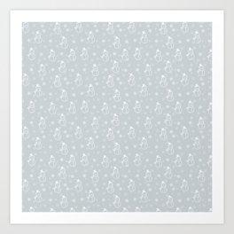 grey snowman Art Print