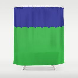 Scalloped - Kelly Green & Navy Shower Curtain