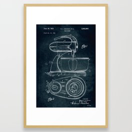 1951 - Food mixer patent art Framed Art Print