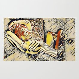 4248s-JG Beautiful Jessica Striped Nude Erotica in the Style of Kandinsky Rug