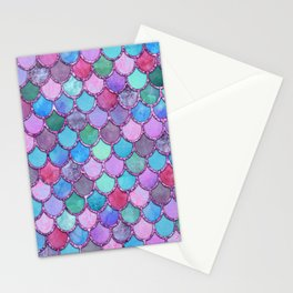 Colorful Pink Glitter Mermaid Scales Stationery Cards