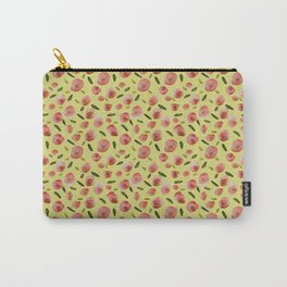 Poppies Hand-Painted Watercolors in Rose Pink on Citron Yellow Carry-All Pouch
