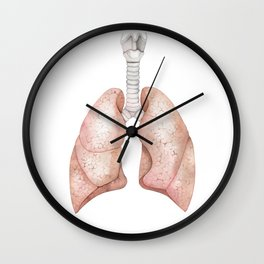 Watercolor anatomy collection - lungs Wall Clock