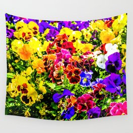 Viola Tricolor Pansy Flowers Wall Tapestry