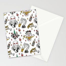 Chess-skeleton pattern with vine and beer bottles Stationery Cards