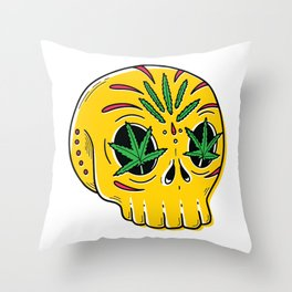 SKULL WEED Throw Pillow