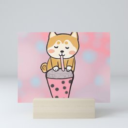 Boba with shiba Mini Art Print