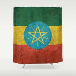 Old and Worn Distressed Vintage Flag of Ethiopia Shower Curtain