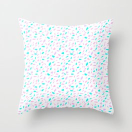 scattered: cyan, pink, purple Throw Pillow