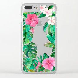Classic Tropical Garden with Pink Flowers Clear iPhone Case