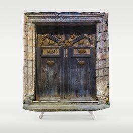 Old brown door Shower Curtain