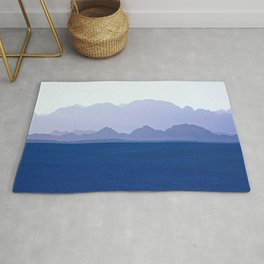 Mountains Range in Shades of Blue Rug
