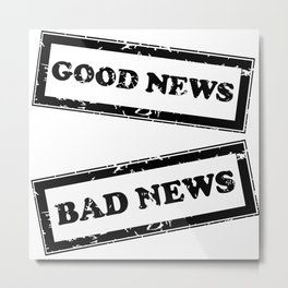 Rubber stamps with Good and Bad news Metal Print