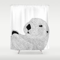 otter Shower Curtains featuring Otter by Meg Lang