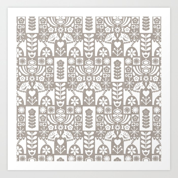 Swedish Folk Art - Warm Gray Kunstdrucke