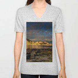 decline sky twilight mountain lake lighting Unisex V-Neck