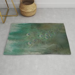 Peafowl In Abstract Rug