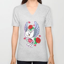Cute Pigeon Flying - Peace & Love Unisex V-Neck