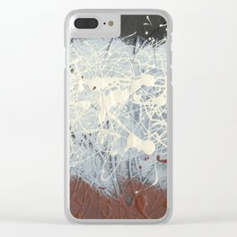 Cool Pollock Rothko Inspired Black White Red Abstract - Modern Art Clear iPhone Case