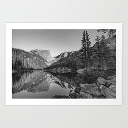 Rocky Mountain Dream - Black and White Mountain Landscape Art Print