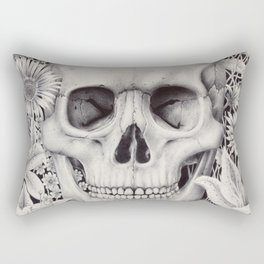 Skull and Flowers Vanitas Rectangular Pillow