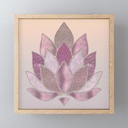 Elegant Glamorous Pink Rose Gold Lotus Flower Framed Mini Art Print